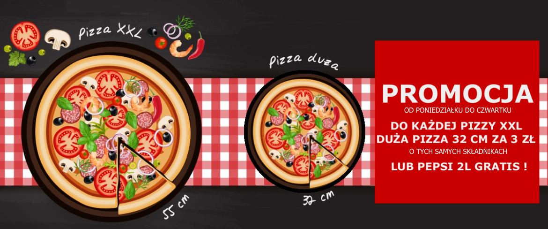 Promocja pizza xxl + pizza duża o tych samych składnikach za 3 zł