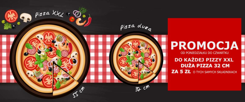 Promocja pizza xxl + pizza duża o tych samych składnikach za 5 zł